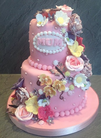 Pink 2 Tier Birthday Cake With Mixed Flower Cascade
